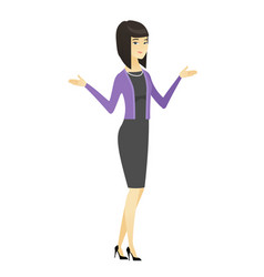 asian confused business woman with spread arms vector image