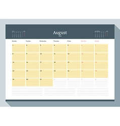August 2016 Monthly Calendar Planner for 2016 Year vector image