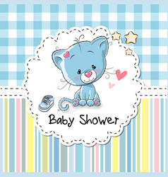 baby shower greeting card with kitten vector image