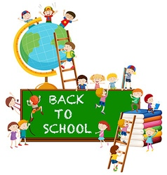 Back to school theme with kids and globe vector image
