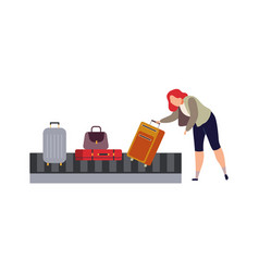 baggage carousel in airport woman picks up vector image