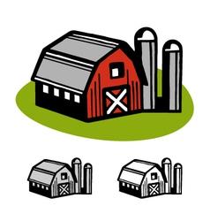 Barn and silos vector