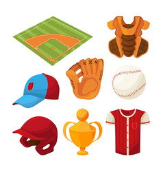 Baseball cartoon icons set isolate on white vector