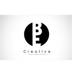 be letter logo design inside a black circle vector image