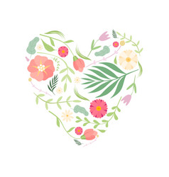 beautiful heart with floral seamless pattern vector image