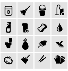 Black cleaning icon set vector