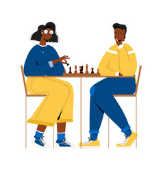 Black couple plays chess vector