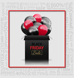 Black friday advertising poster with gift box and vector