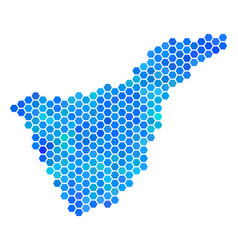 Blue hexagon tenerife spain island map vector