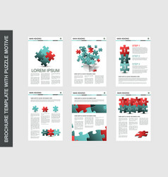 Brochure flyer design template with puzzle vector