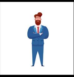 Business man in suit standing confident vector