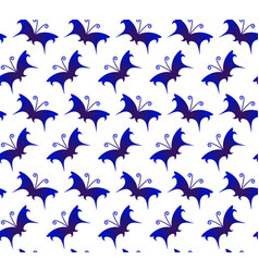 butterfly blue and white pattern vector image