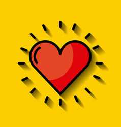 cartoon heart with yellow background vector image