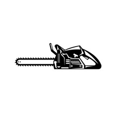 Chainsaw viewed from side retro black and white vector
