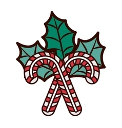 Christmas candy cane with leaves vector
