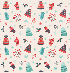 Christmas pattern with hats and mittens vector