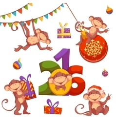Christmas set with monkey for 2016 New Year vector image vector image