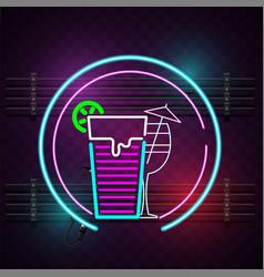 cocktail glass neon sign circle frame background v vector image