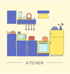 colored kitchen interior in thin line style vector image