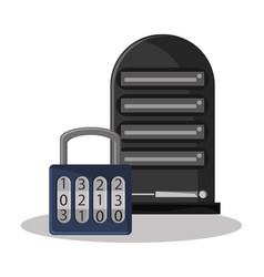 Cyber security data server padlock system vector