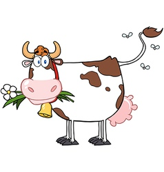 Dairy Cow With Flower In Mouth vector image
