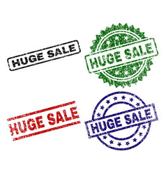 damaged textured huge sale seal stamps vector image
