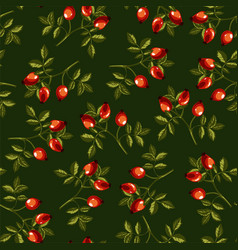 eglantine or dog rose seamless pattern on green vector image