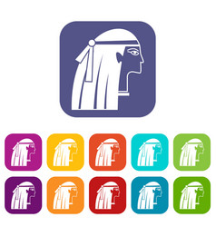 Egyptian girl icons set flat vector