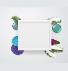 Empty square white frame on a wall winter vector