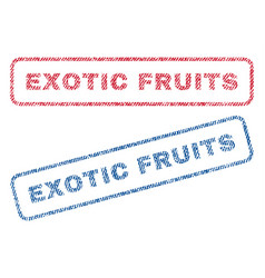 Exotic fruits textile stamps vector