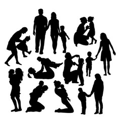 Family activity silhouettes vector