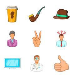 Fatigue icons set cartoon style vector
