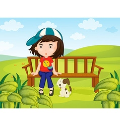 Girl and dog in the park vector image