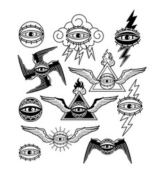graphic collection of all-seeing eyes vector image