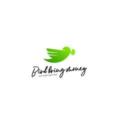 green bird logo template animal logo concept vector image