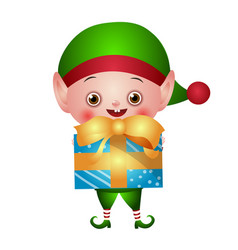 green christmas elf with gift box vector image