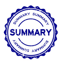 Grunge blue summary word round rubber seal stamp vector