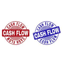 Grunge cash flow textured round watermarks vector