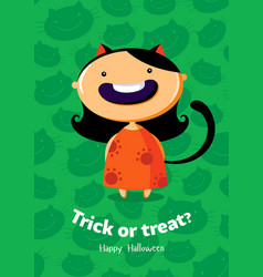 halloween poster trick or treat with cat girl vector image