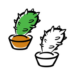 hand drawing cartoon cactus vector image