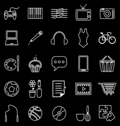 Hobby line icons on black background vector