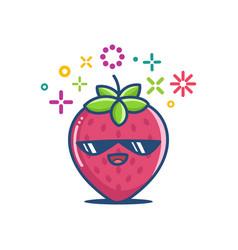 Kawaii smiling sunglasses strawberry emoticon vector