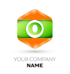 Letter o logo in the colorful hexagonal vector