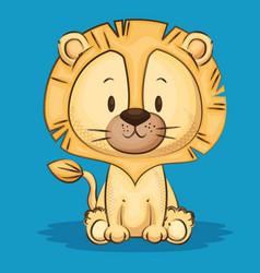 Little cute lion character vector