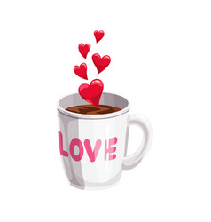 Love written on cup coffee with hearts vector