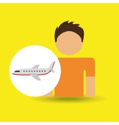 Male character traveler airplane transport vector