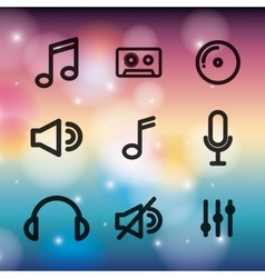 music set icons design vector image