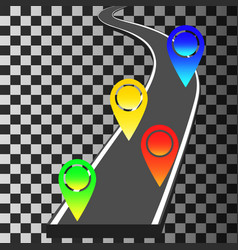 navigation template with colored pin pointers and vector image
