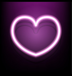 neon heart on dark pink background vector image