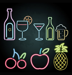neon light design for fruits and drinks vector image